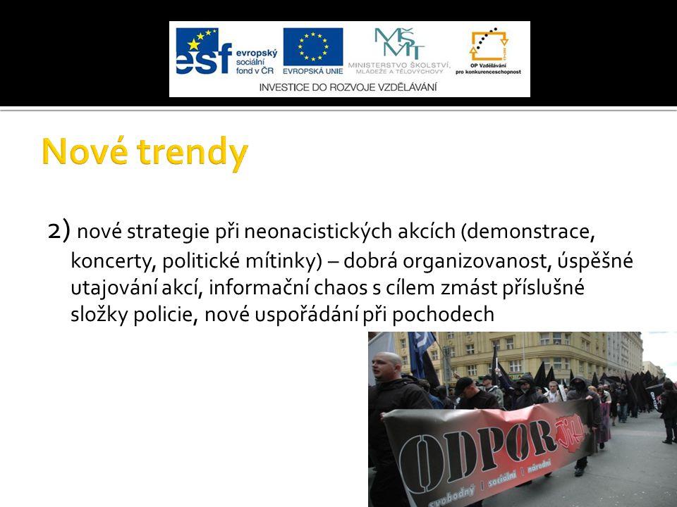 2) nové strategie při neonacistických akcích (demonstrace, koncerty, politické mítinky) – dobrá organizovanost, úspěšné utajování akcí, informační cha