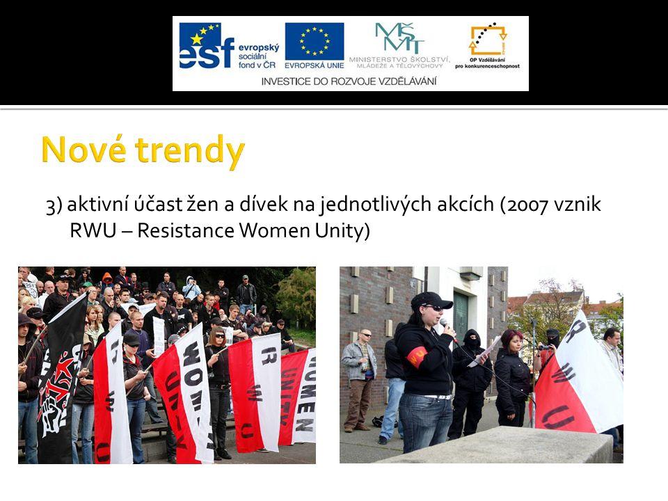 3) aktivní účast žen a dívek na jednotlivých akcích (2007 vznik RWU – Resistance Women Unity)
