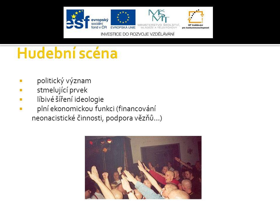  politický význam  stmelující prvek  líbivé šíření ideologie  plní ekonomickou funkci (financování neonacistické činnosti, podpora vězňů…)