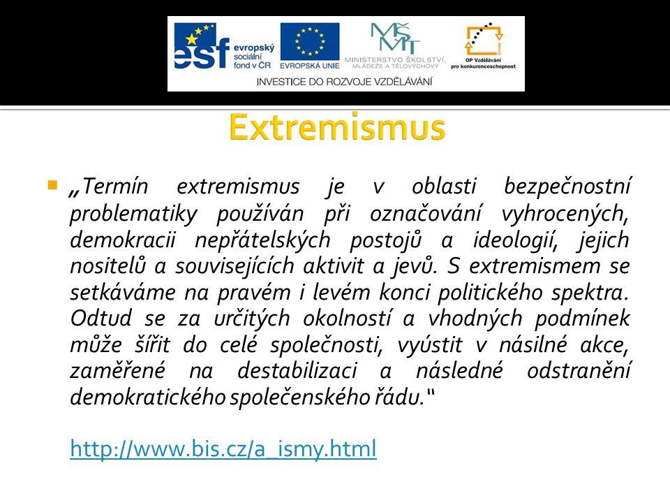 """ """" Termín extremismus je v oblasti bezpečnostní problematiky používán při označování vyhrocených, demokracii nepřátelských postojů a ideologií, jejic"""