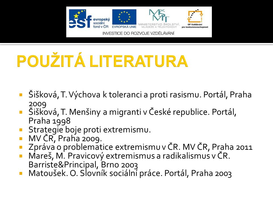  Šišková, T. Výchova k toleranci a proti rasismu. Portál, Praha 2009  Šišková, T. Menšiny a migranti v České republice. Portál, Praha 1998  Strateg