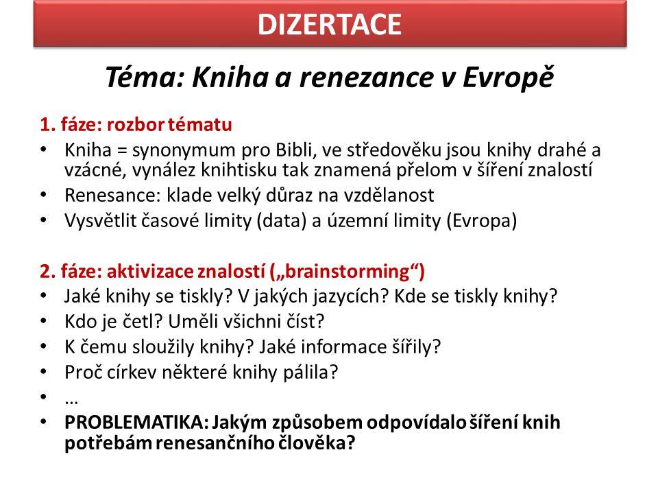 Téma: Kniha a renezance v Evropě 1.