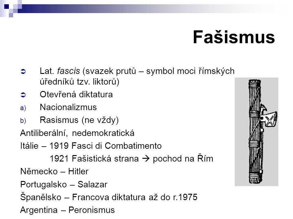 Fašismus  Lat.fascis (svazek prutů – symbol moci římských úředníků tzv.