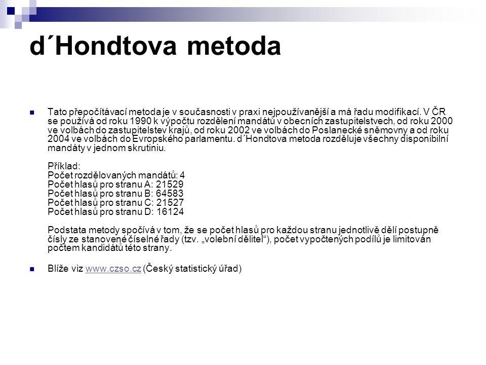d΄Hondtova metoda Tato přepočítávací metoda je v současnosti v praxi nejpoužívanější a má řadu modifikací.