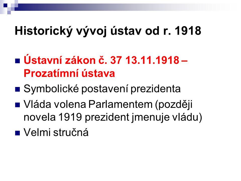 Historický vývoj ústav od r.1918 Ústavní zákon č.