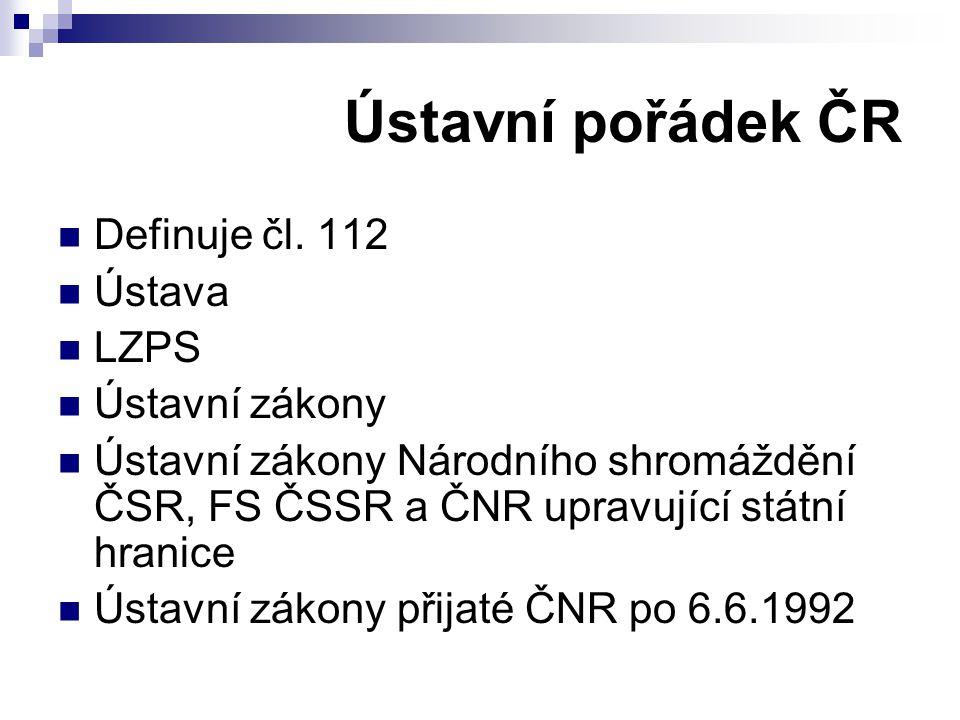 Ústavní pořádek ČR Definuje čl.