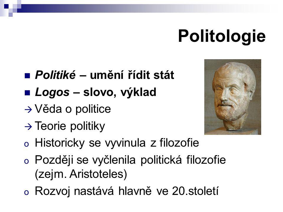 Politologie Politiké – umění řídit stát Logos – slovo, výklad  Věda o politice  Teorie politiky o Historicky se vyvinula z filozofie o Později se vyčlenila politická filozofie (zejm.