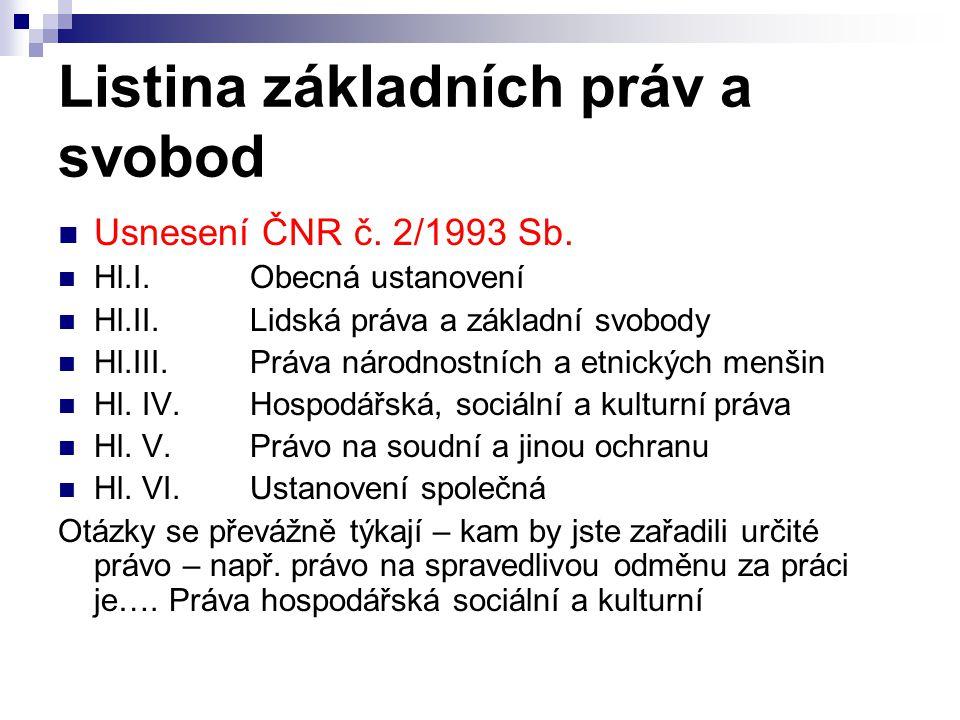 Listina základních práv a svobod Usnesení ČNR č.2/1993 Sb.