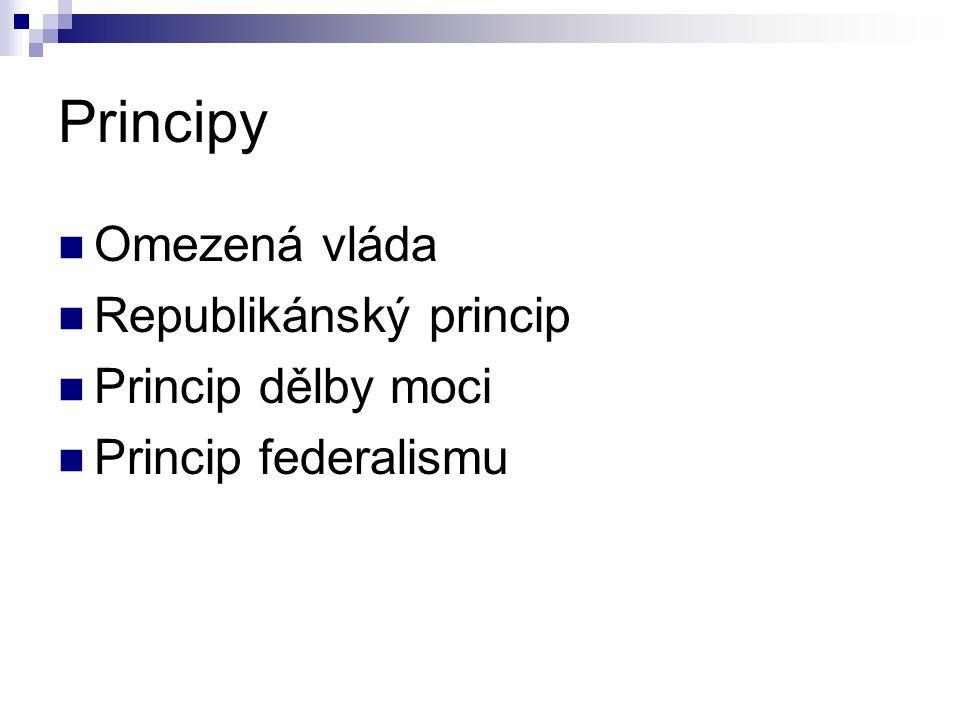 Principy Omezená vláda Republikánský princip Princip dělby moci Princip federalismu