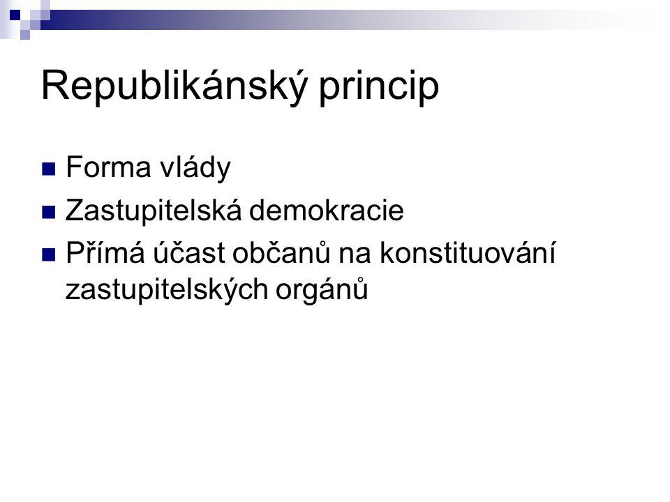 Republikánský princip Forma vlády Zastupitelská demokracie Přímá účast občanů na konstituování zastupitelských orgánů