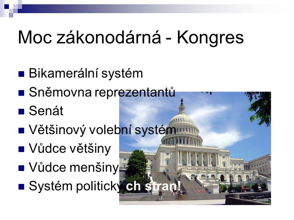 Moc zákonodárná - Kongres Bikamerální systém Sněmovna reprezentantů Senát Většinový volební systém Vůdce většiny Vůdce menšiny Systém politický ch stran!