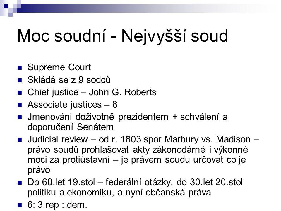 Moc soudní - Nejvyšší soud Supreme Court Skládá se z 9 sodců Chief justice – John G.
