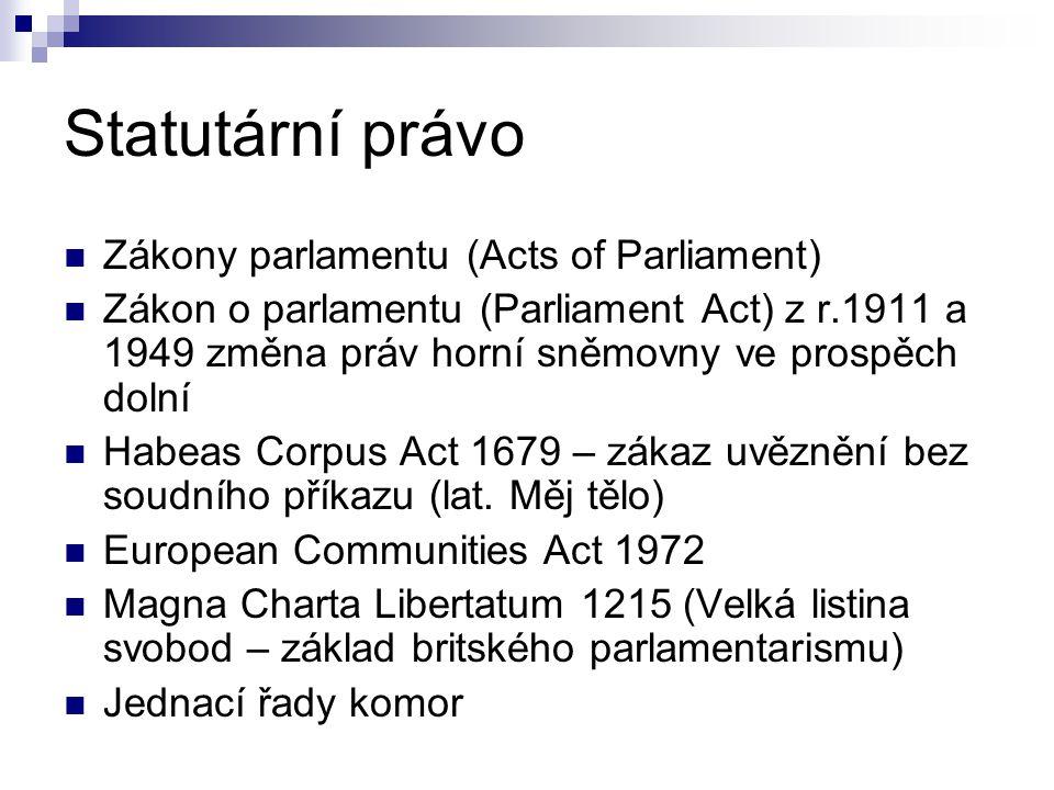 Statutární právo Zákony parlamentu (Acts of Parliament) Zákon o parlamentu (Parliament Act) z r.1911 a 1949 změna práv horní sněmovny ve prospěch dolní Habeas Corpus Act 1679 – zákaz uvěznění bez soudního příkazu (lat.