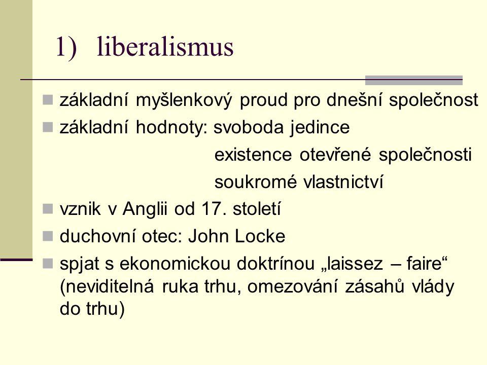 1)liberalismus základní myšlenkový proud pro dnešní společnost základní hodnoty: svoboda jedince existence otevřené společnosti soukromé vlastnictví vznik v Anglii od 17.
