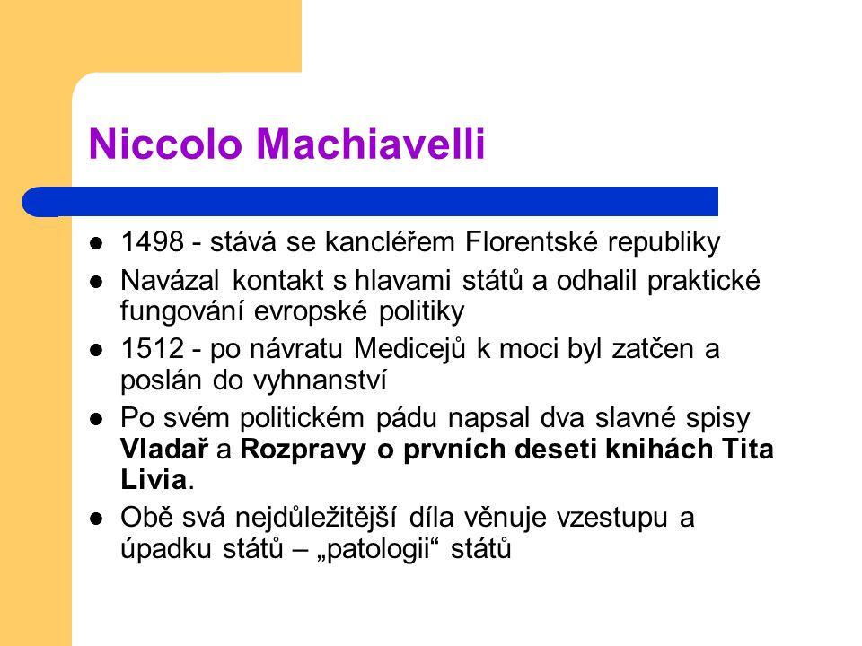 Niccolo Machiavelli 1498 - stává se kancléřem Florentské republiky Navázal kontakt s hlavami států a odhalil praktické fungování evropské politiky 151