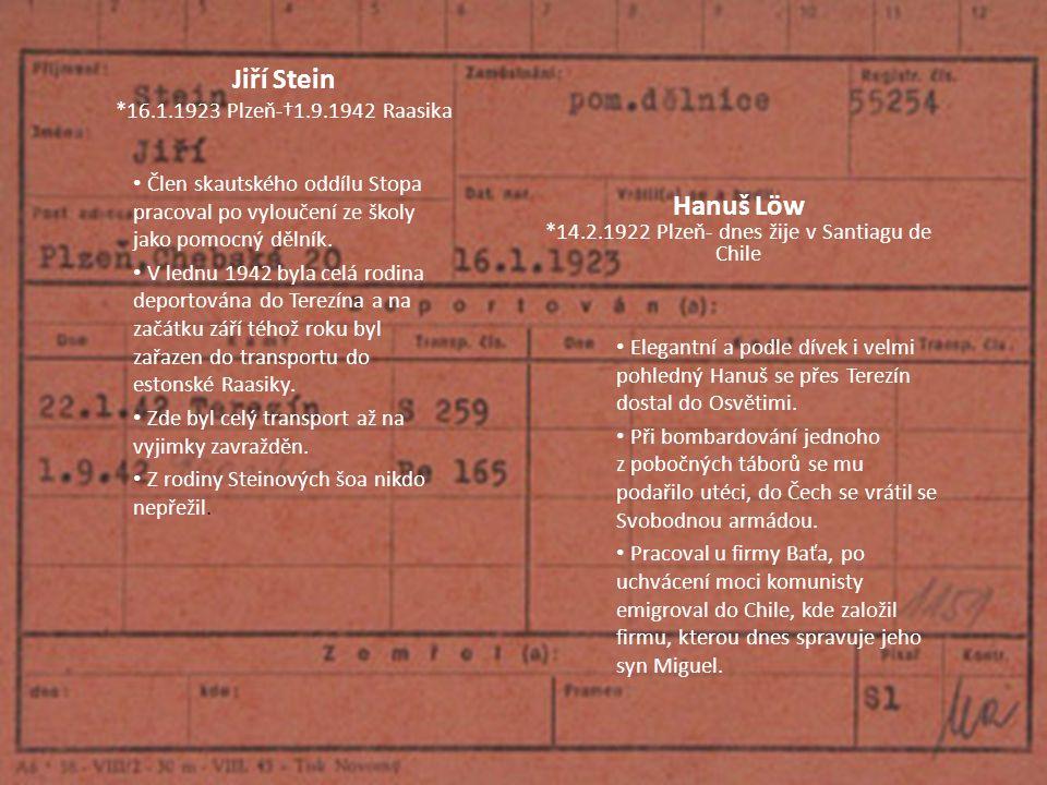 Jiří Stein *16.1.1923 Plzeň-†1.9.1942 Raasika Člen skautského oddílu Stopa pracoval po vyloučení ze školy jako pomocný dělník. V lednu 1942 byla celá