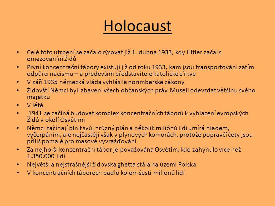 Holocaust Celé toto utrpení se začalo rýsovat již 1. dubna 1933, kdy Hitler začal s omezováním Židů První koncentrační tábory existují již od roku 193