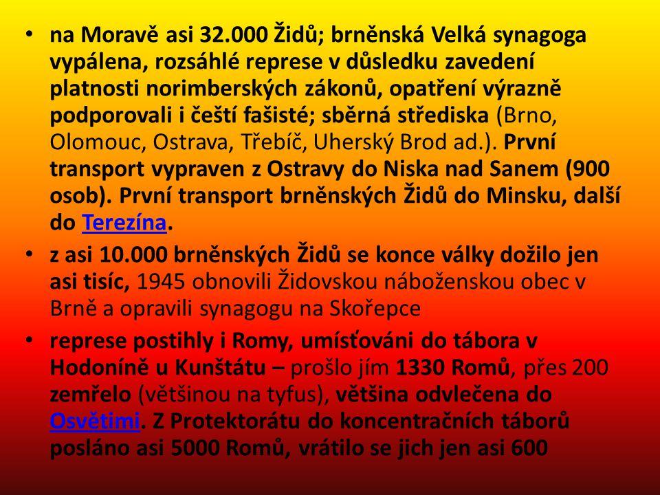 na Moravě asi 32.000 Židů; brněnská Velká synagoga vypálena, rozsáhlé represe v důsledku zavedení platnosti norimberských zákonů, opatření výrazně pod