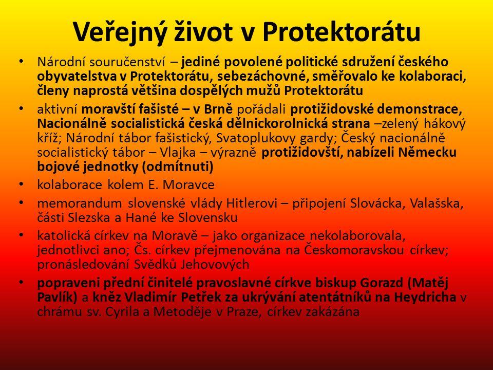 Veřejný život v Protektorátu Národní souručenství – jediné povolené politické sdružení českého obyvatelstva v Protektorátu, sebezáchovné, směřovalo ke