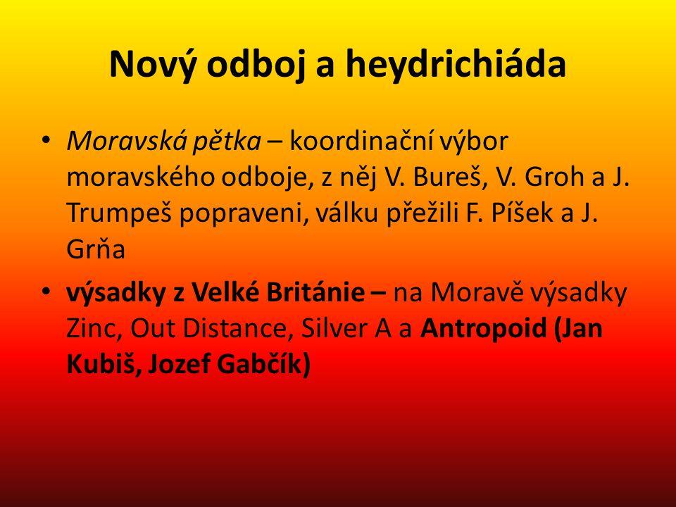 Nový odboj a heydrichiáda Moravská pětka – koordinační výbor moravského odboje, z něj V. Bureš, V. Groh a J. Trumpeš popraveni, válku přežili F. Píšek