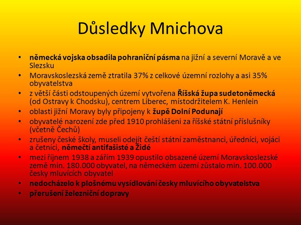 Důsledky Mnichova německá vojska obsadila pohraniční pásma na jižní a severní Moravě a ve Slezsku Moravskoslezská země ztratila 37% z celkové územní r