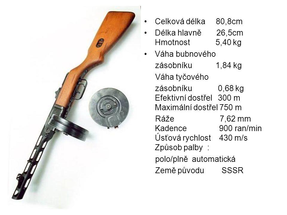 Celková délka 80,8cm Délka hlavně 26,5cm Hmotnost 5,40 kg Váha bubnového zásobníku 1,84 kg Váha tyčového zásobníku 0,68 kg Efektivní dostřel 300 m Max