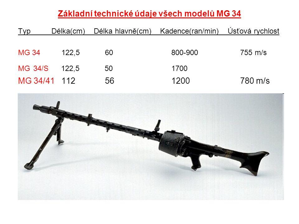 Základní technické údaje všech modelů MG 34 Typ Délka(cm) Délka hlavně(cm) Kadence(ran/min) Úsťová rychlost MG 34 122,5 60 800-900 755 m/s MG 34/S 122