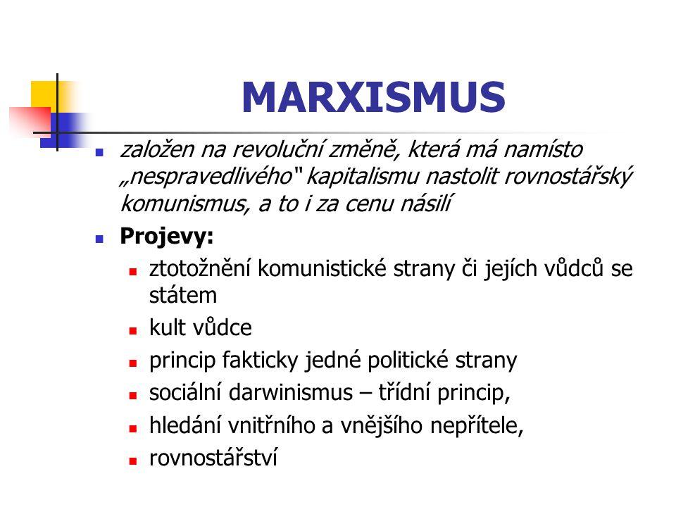 """MARXISMUS založen na revoluční změně, která má namísto """"nespravedlivého"""" kapitalismu nastolit rovnostářský komunismus, a to i za cenu násilí Projevy:"""
