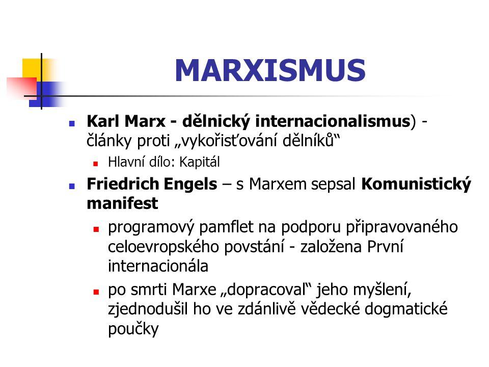 """MARXISMUS Karl Marx - dělnický internacionalismus) - články proti """"vykořisťování dělníků"""" Hlavní dílo: Kapitál Friedrich Engels – s Marxem sepsal Komu"""