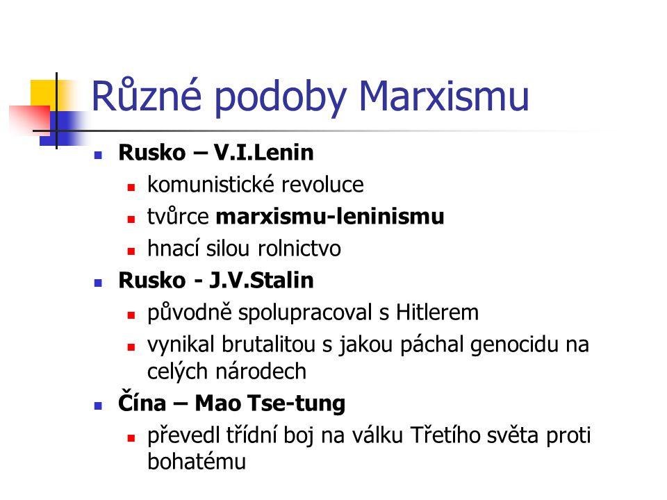 Různé podoby Marxismu Rusko – V.I.Lenin komunistické revoluce tvůrce marxismu-leninismu hnací silou rolnictvo Rusko - J.V.Stalin původně spolupracoval