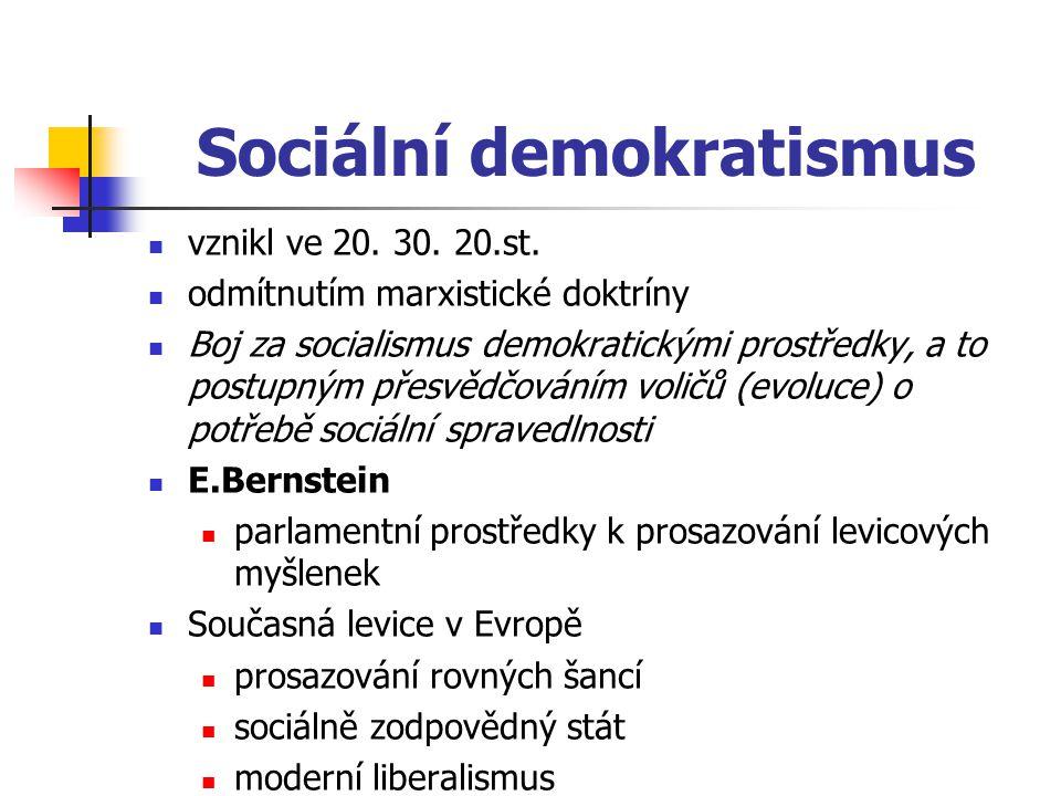 Sociální demokratismus vznikl ve 20. 30. 20.st. odmítnutím marxistické doktríny Boj za socialismus demokratickými prostředky, a to postupným přesvědčo