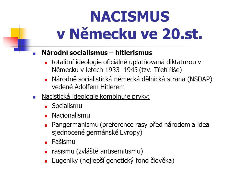 NACISMUS v Německu ve 20.st. Národní socialismus – hitlerismus totalitní ideologie oficiálně uplatňovaná diktaturou v Německu v letech 1933–1945 (tzv.