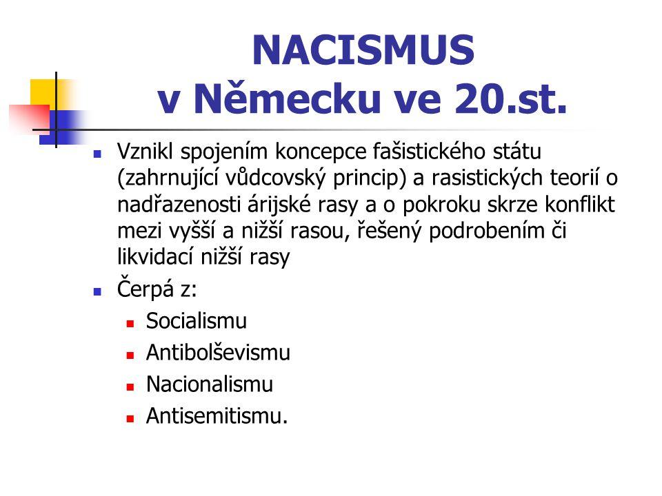NACISMUS v Německu ve 20.st. Vznikl spojením koncepce fašistického státu (zahrnující vůdcovský princip) a rasistických teorií o nadřazenosti árijské r