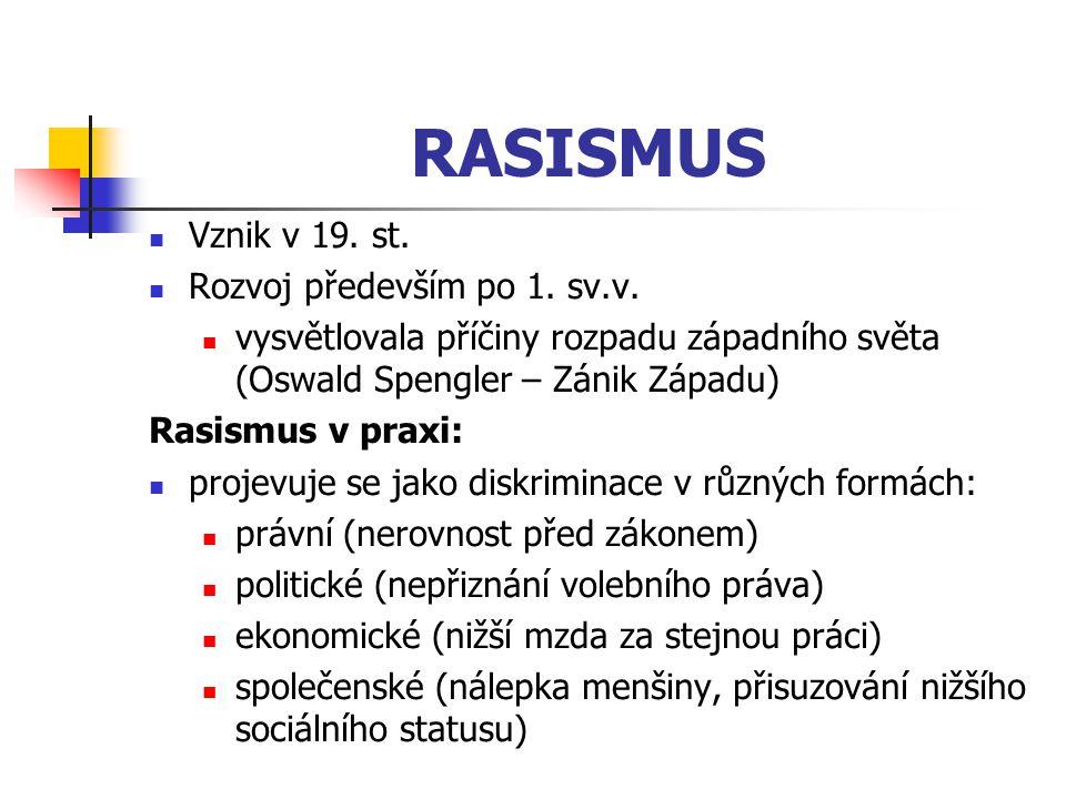 RASISMUS Vznik v 19. st. Rozvoj především po 1. sv.v. vysvětlovala příčiny rozpadu západního světa (Oswald Spengler – Zánik Západu) Rasismus v praxi: