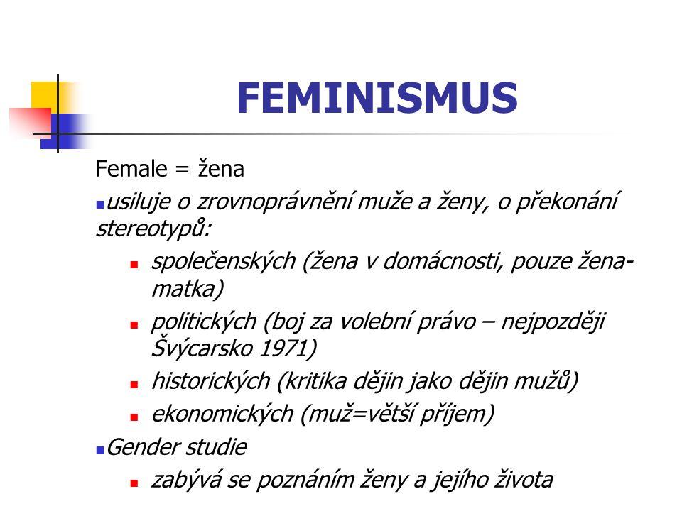 FEMINISMUS Female = žena usiluje o zrovnoprávnění muže a ženy, o překonání stereotypů: společenských (žena v domácnosti, pouze žena- matka) politickýc