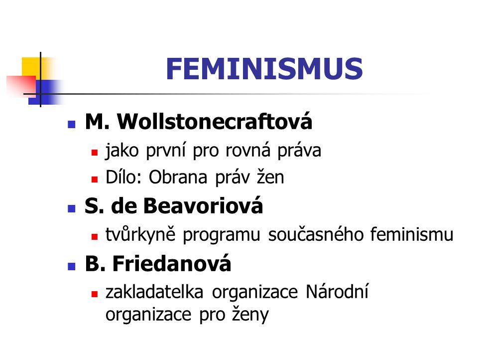 FEMINISMUS M. Wollstonecraftová jako první pro rovná práva Dílo: Obrana práv žen S. de Beavoriová tvůrkyně programu současného feminismu B. Friedanová