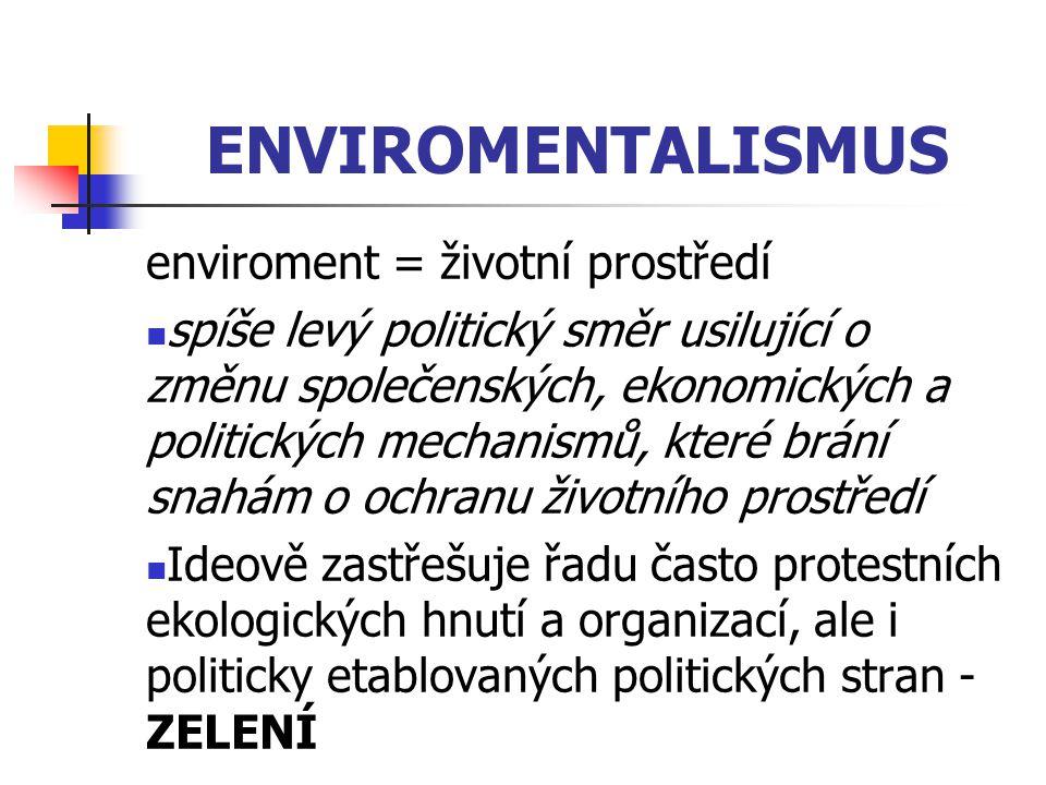 ENVIROMENTALISMUS enviroment = životní prostředí spíše levý politický směr usilující o změnu společenských, ekonomických a politických mechanismů, kte