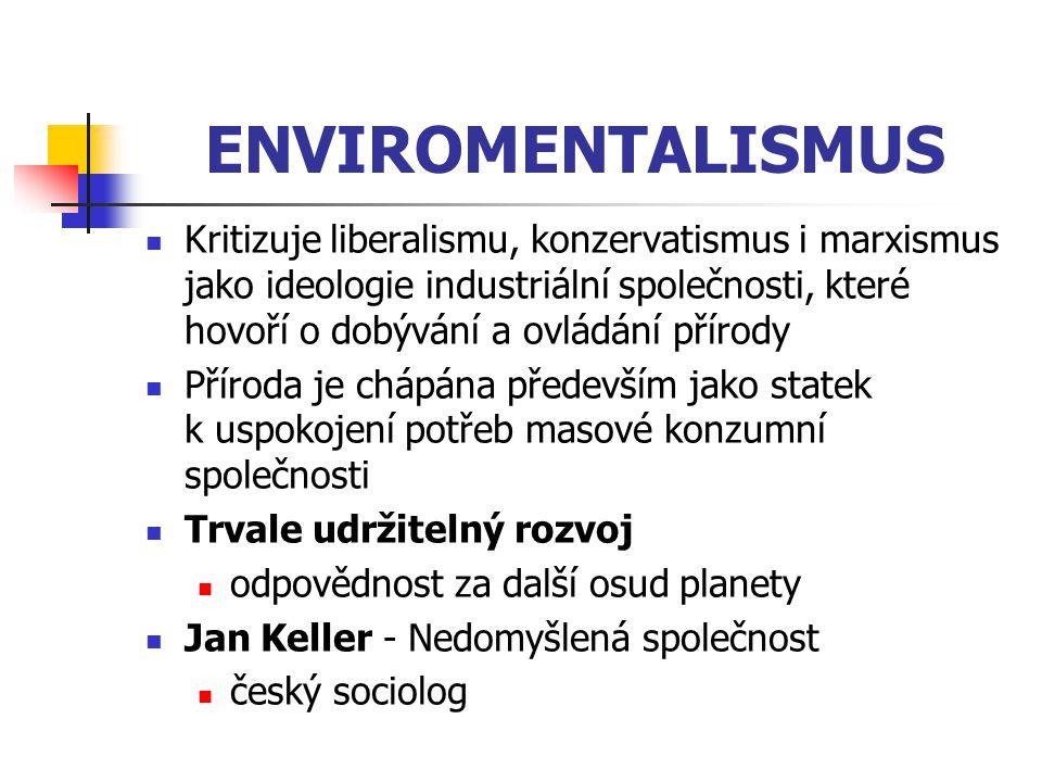 ENVIROMENTALISMUS Kritizuje liberalismu, konzervatismus i marxismus jako ideologie industriální společnosti, které hovoří o dobývání a ovládání přírod