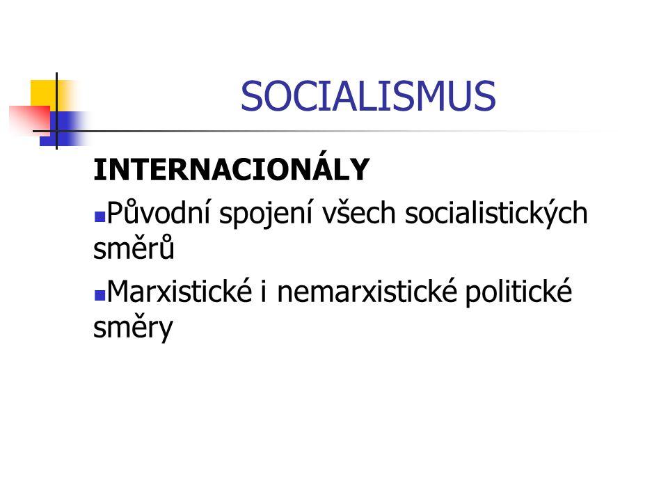 SOCIALISMUS INTERNACIONÁLY Původní spojení všech socialistických směrů Marxistické i nemarxistické politické směry