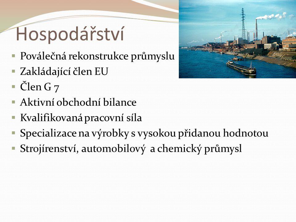 Hospodářství  Poválečná rekonstrukce průmyslu  Zakládající člen EU  Člen G 7  Aktivní obchodní bilance  Kvalifikovaná pracovní síla  Specializace na výrobky s vysokou přidanou hodnotou  Strojírenství, automobilový a chemický průmysl
