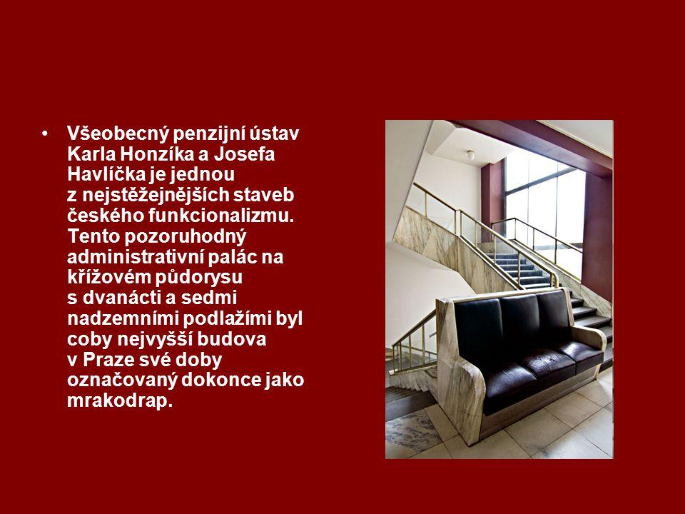 Všeobecný penzijní ústav Karla Honzíka a Josefa Havlíčka je jednou z nejstěžejnějších staveb českého funkcionalizmu. Tento pozoruhodný administrativní