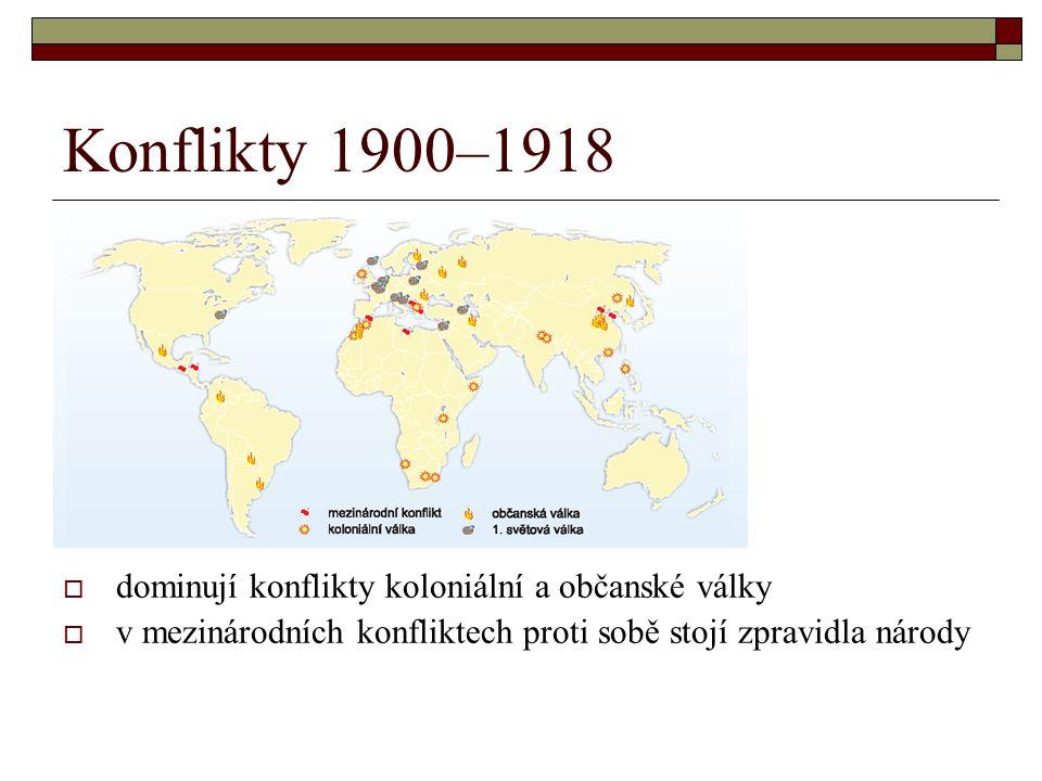 Konflikty 1900–1918  dominují konflikty koloniální a občanské války  v mezinárodních konfliktech proti sobě stojí zpravidla národy