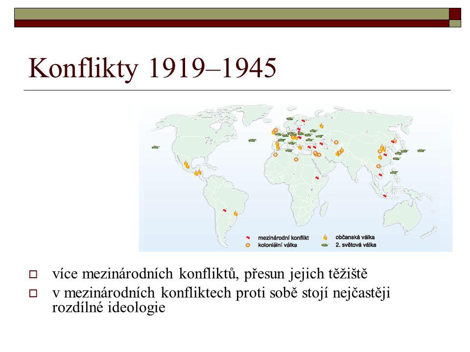 Konflikty 1919–1945  více mezinárodních konfliktů, přesun jejich těžiště  v mezinárodních konfliktech proti sobě stojí nejčastěji rozdílné ideologie