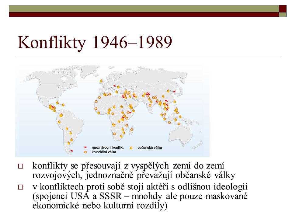 Konflikty 1946–1989  konflikty se přesouvají z vyspělých zemí do zemí rozvojových, jednoznačně převažují občanské války  v konfliktech proti sobě st