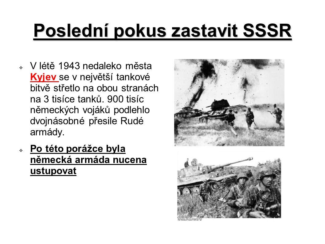Poslední pokus zastavit SSSR  V létě 1943 nedaleko města Kyjev se v největší tankové bitvě střetlo na obou stranách na 3 tisíce tanků. 900 tisíc něme