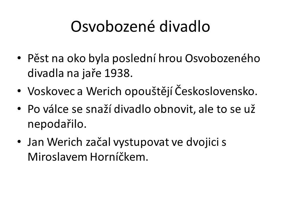 Osvobozené divadlo Pěst na oko byla poslední hrou Osvobozeného divadla na jaře 1938. Voskovec a Werich opouštějí Československo. Po válce se snaží div