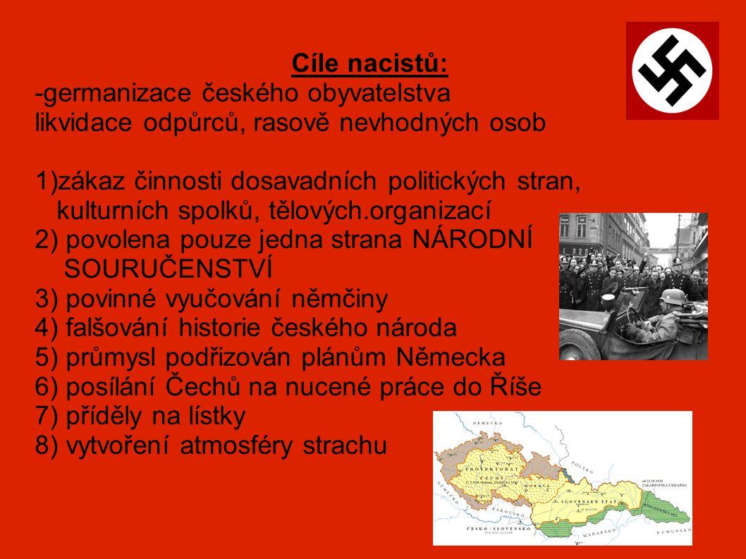 Cíle nacistů: -germanizace českého obyvatelstva likvidace odpůrců, rasově nevhodných osob 1)zákaz činnosti dosavadních politických stran, kulturních s