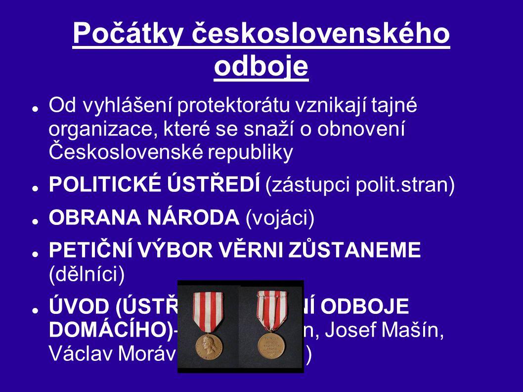 Počátky československého odboje Od vyhlášení protektorátu vznikají tajné organizace, které se snaží o obnovení Československé republiky POLITICKÉ ÚSTŘ