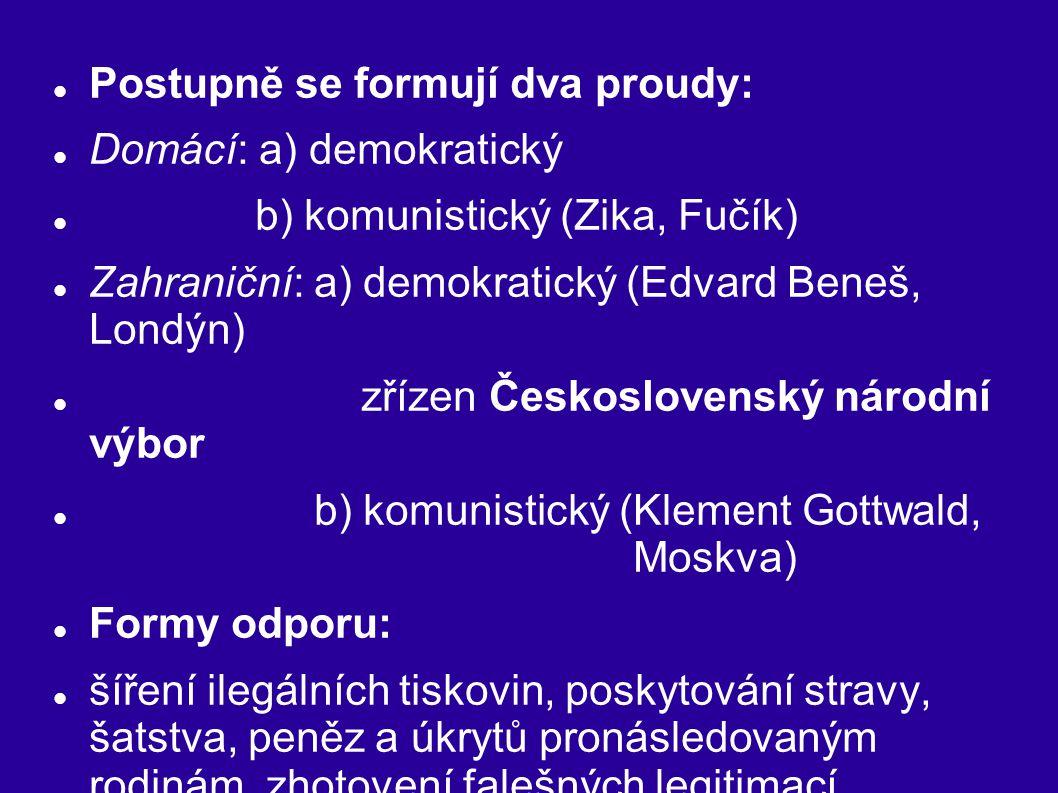 Postupně se formují dva proudy: Domácí: a) demokratický b) komunistický (Zika, Fučík) Zahraniční: a) demokratický (Edvard Beneš, Londýn) zřízen Českos