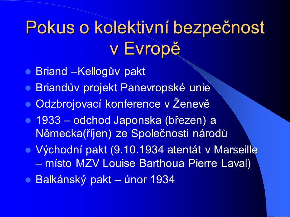 Pokus o kolektivní bezpečnost v Evropě Briand –Kellogův pakt Briandův projekt Panevropské unie Odzbrojovací konference v Ženevě 1933 – odchod Japonska